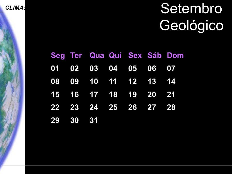 Engenharia Ambiental – POLI 2006 CLIMA: Processos, Mudanças e Impactos Departamento de Ciências Atmosféricas – IAG-USP Setembro Geológico SegTerQuaQuiSexSábDom 01020304050607 08091011121314 15161718192021 22232425262728 293031