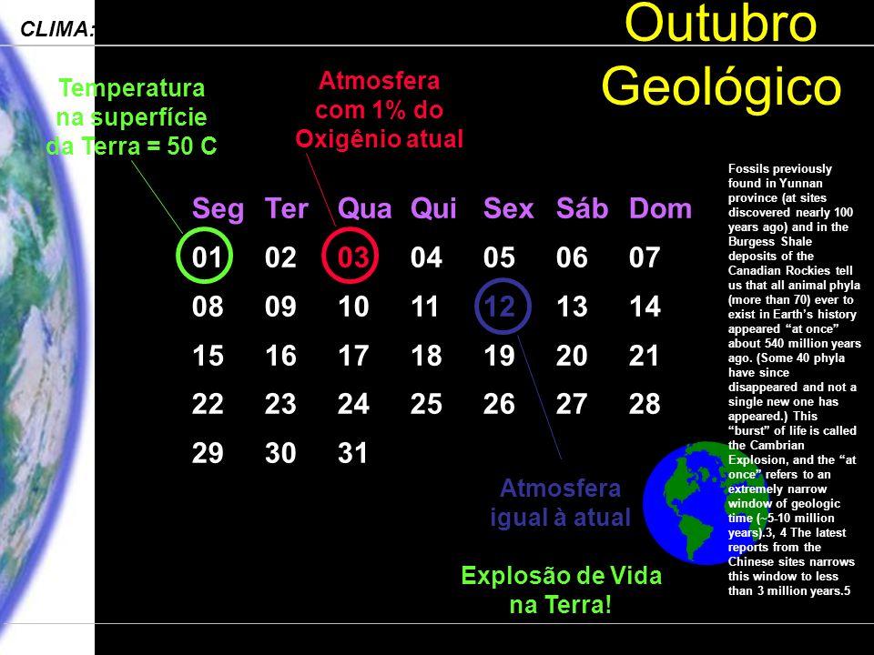 Engenharia Ambiental – POLI 2006 CLIMA: Processos, Mudanças e Impactos Departamento de Ciências Atmosféricas – IAG-USP Outubro Geológico SegTerQuaQuiSexSábDom 01020304050607 08091011121314 15161718192021 22232425262728 293031 Temperatura na superfície da Terra = 50 C Atmosfera com 1% do Oxigênio atual Atmosfera igual à atual Explosão de Vida na Terra.