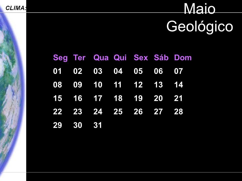 Engenharia Ambiental – POLI 2006 CLIMA: Processos, Mudanças e Impactos Departamento de Ciências Atmosféricas – IAG-USP Maio Geológico SegTerQuaQuiSexSábDom 01020304050607 08091011121314 15161718192021 22232425262728 293031