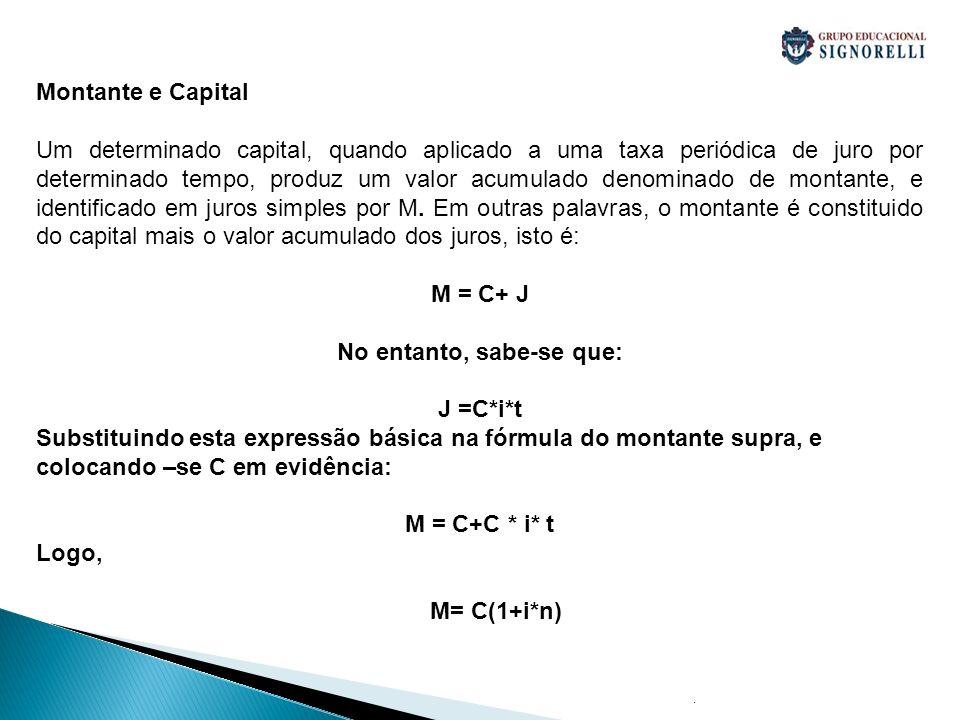 . Montante e Capital Um determinado capital, quando aplicado a uma taxa periódica de juro por determinado tempo, produz um valor acumulado denominado