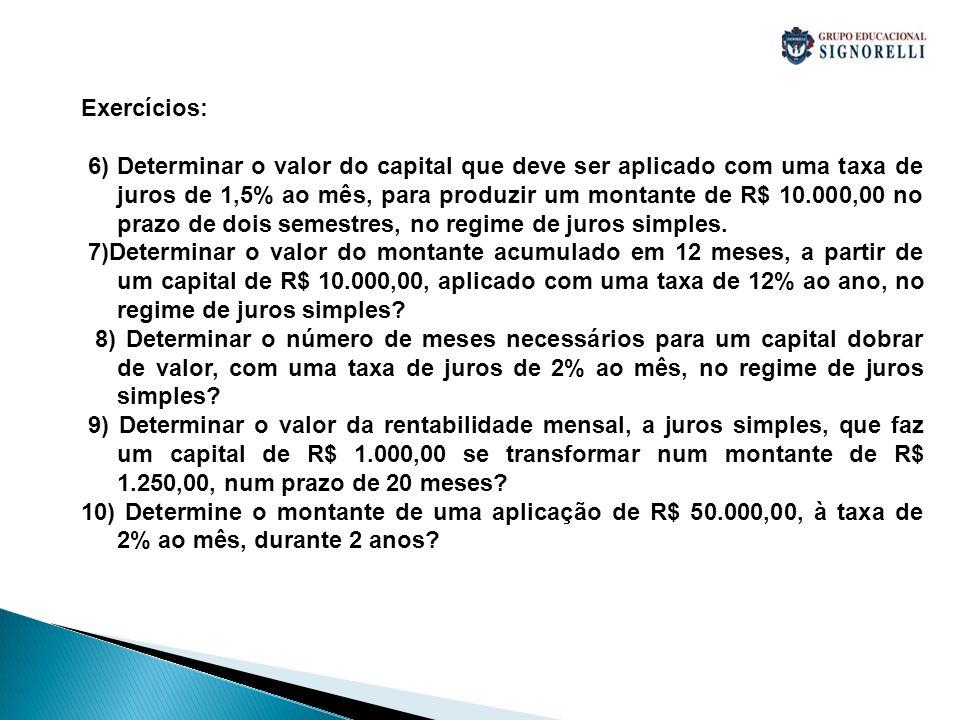 Exercícios: 6) Determinar o valor do capital que deve ser aplicado com uma taxa de juros de 1,5% ao mês, para produzir um montante de R$ 10.000,00 no