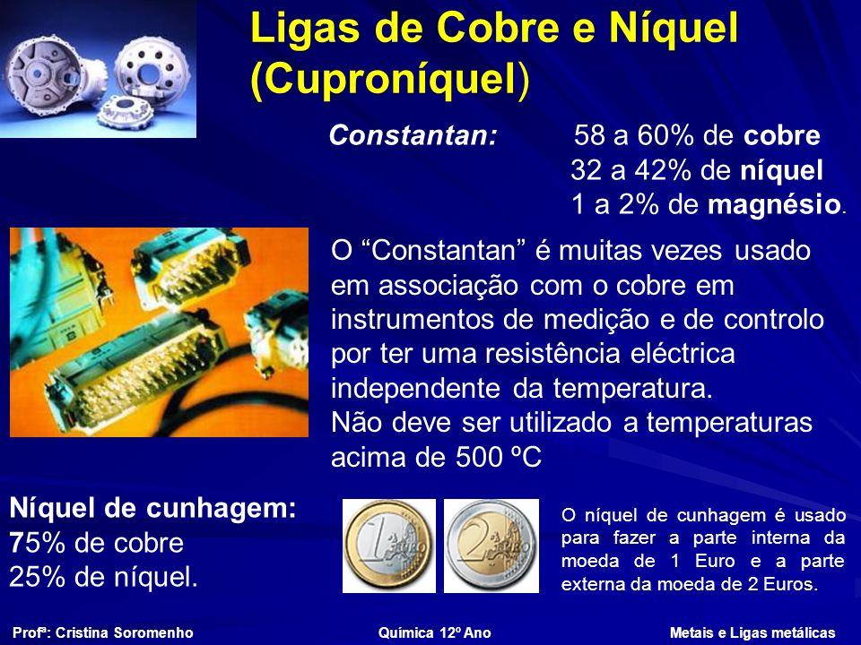 Ligas de Cobre e Níquel (Cuproníquel) Constantan: 58 a 60% de cobre 32 a 42% de níquel 1 a 2% de magnésio.