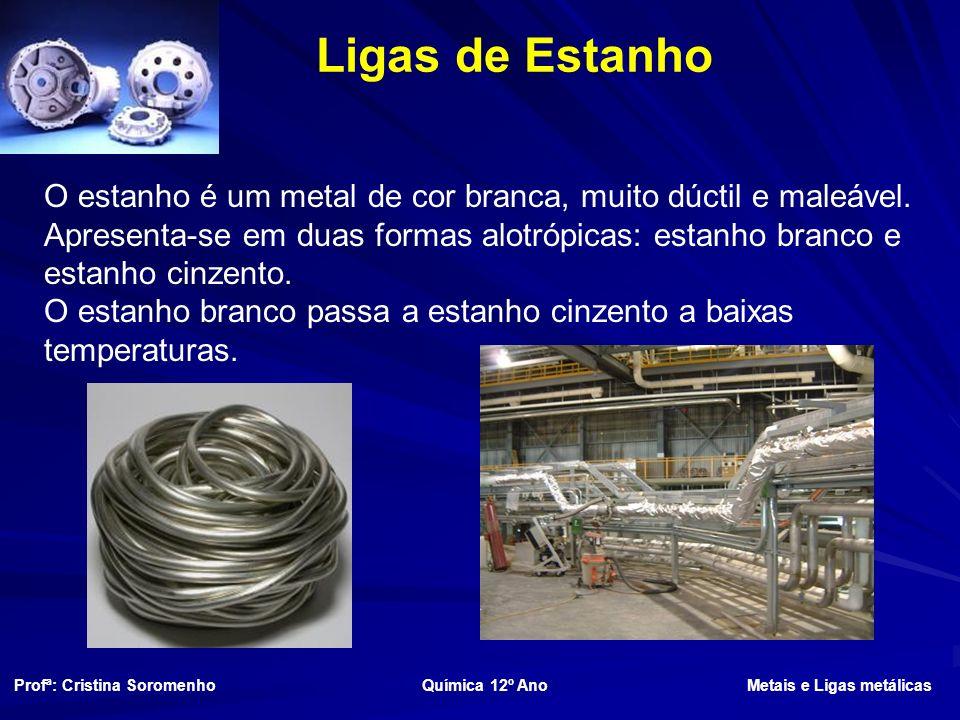 Ligas de Estanho O estanho é um metal de cor branca, muito dúctil e maleável.