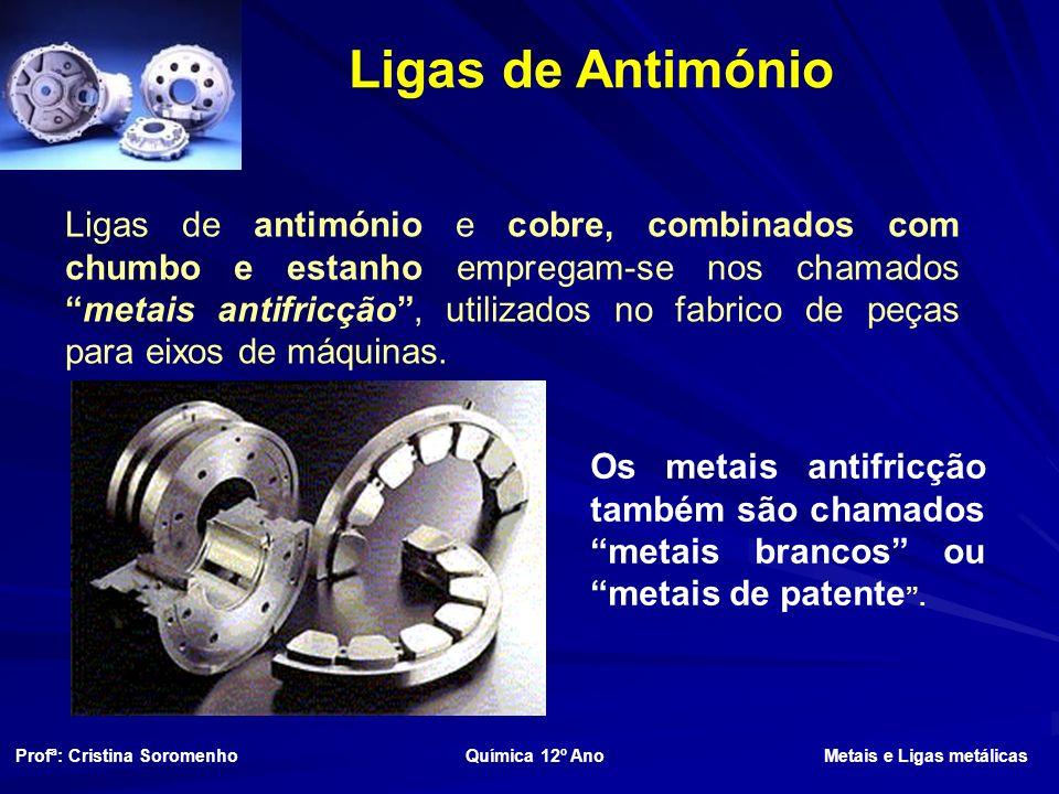 Ligas de Antimónio Ligas de antimónio e cobre, combinados com chumbo e estanho empregam-se nos chamadosmetais antifricção, utilizados no fabrico de peças para eixos de máquinas.