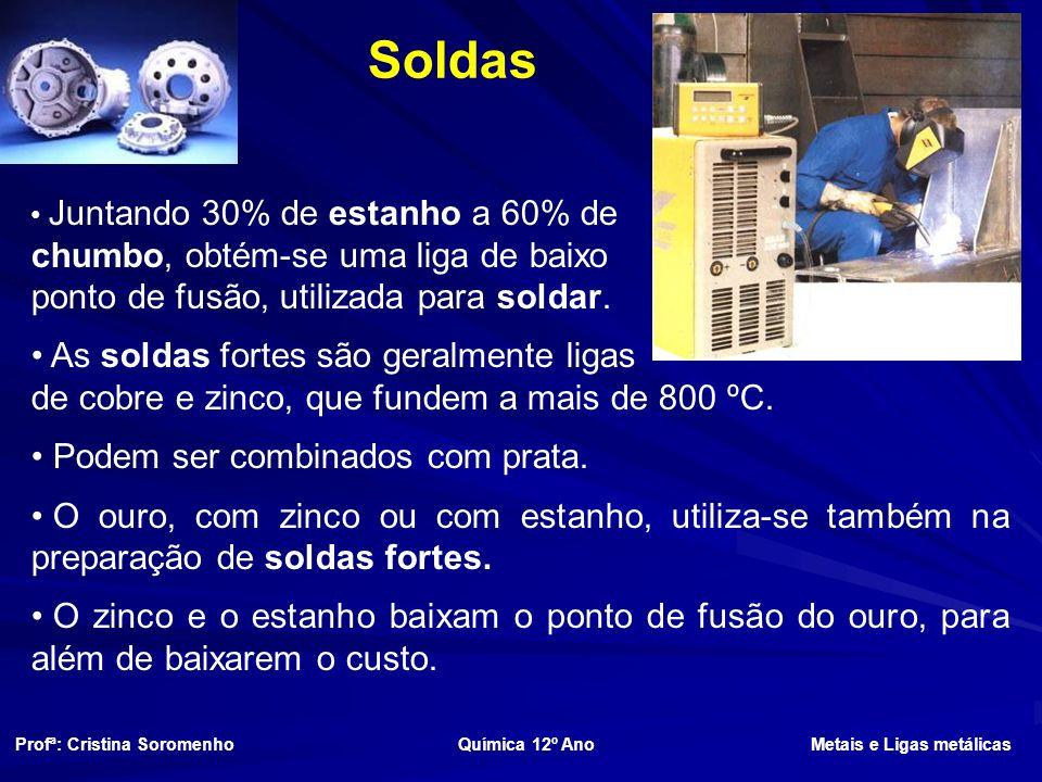 Soldas Juntando 30% de estanho a 60% de chumbo, obtém-se uma liga de baixo ponto de fusão, utilizada para soldar.