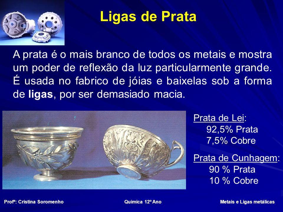 Ligas de Prata Prata de Lei: 92,5% Prata 7,5% Cobre Prata de Cunhagem: 90 % Prata 10 % Cobre A prata é o mais branco de todos os metais e mostra um poder de reflexão da luz particularmente grande.