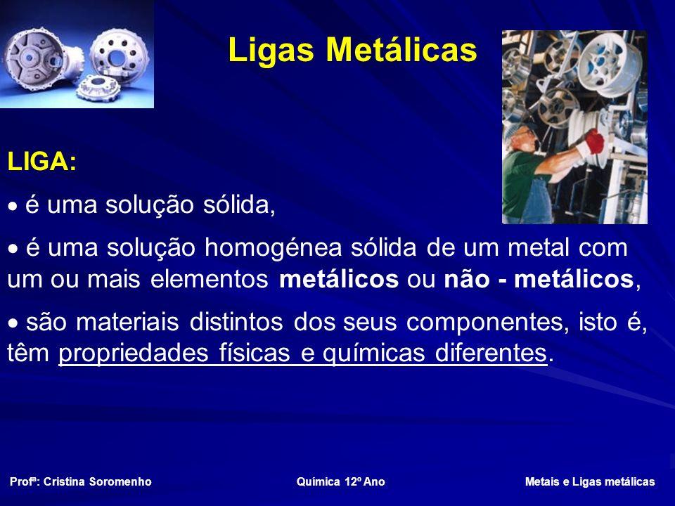 Ligas Metálicas Profª: Cristina Soromenho Química 12º Ano Metais e Ligas metálicas LIGA: é uma solução sólida, é uma solução homogénea sólida de um metal com um ou mais elementos metálicos ou não - metálicos, são materiais distintos dos seus componentes, isto é, têm propriedades físicas e químicas diferentes.