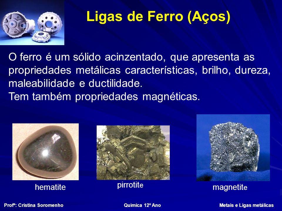 Ligas de Ferro (Aços) O ferro é um sólido acinzentado, que apresenta as propriedades metálicas características, brilho, dureza, maleabilidade e ductilidade.