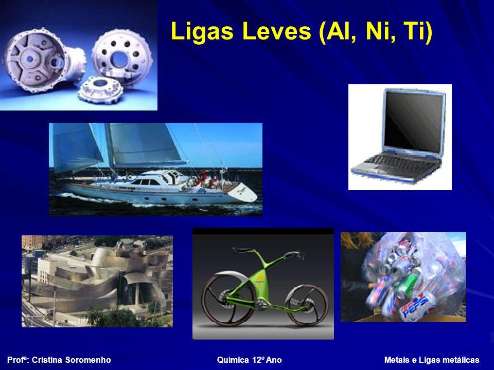 Ligas Leves (Al, Ni, Ti) Profª: Cristina Soromenho Química 12º Ano Metais e Ligas metálicas