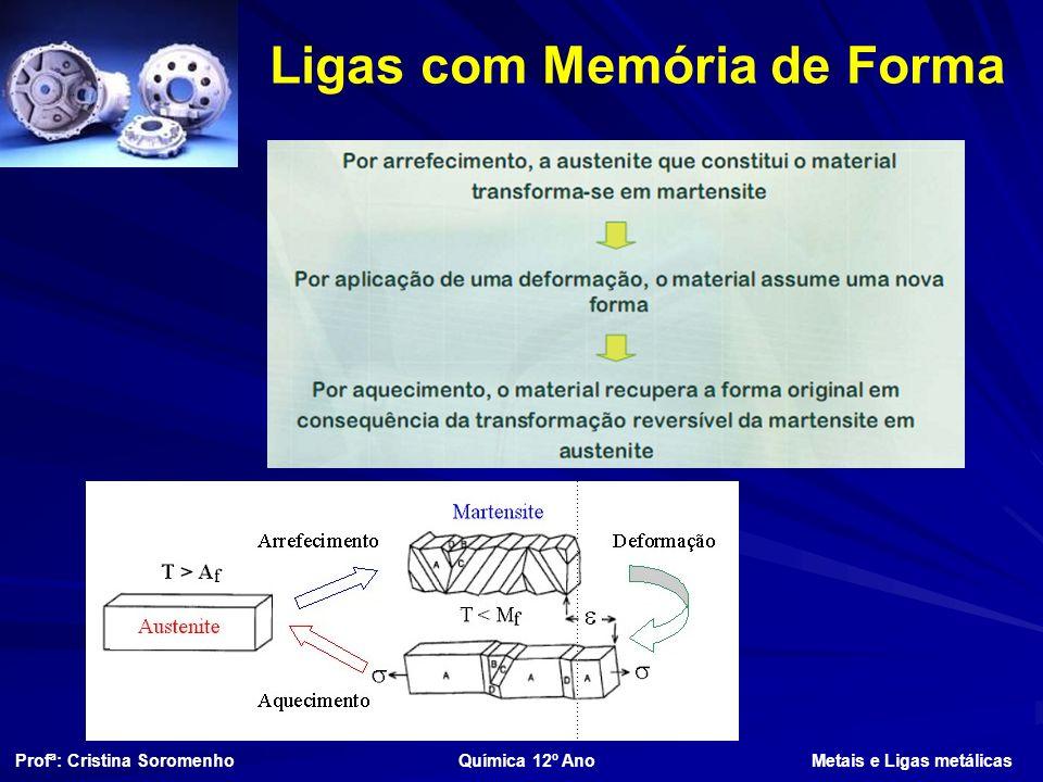 Ligas com Memória de Forma Profª: Cristina Soromenho Química 12º Ano Metais e Ligas metálicas