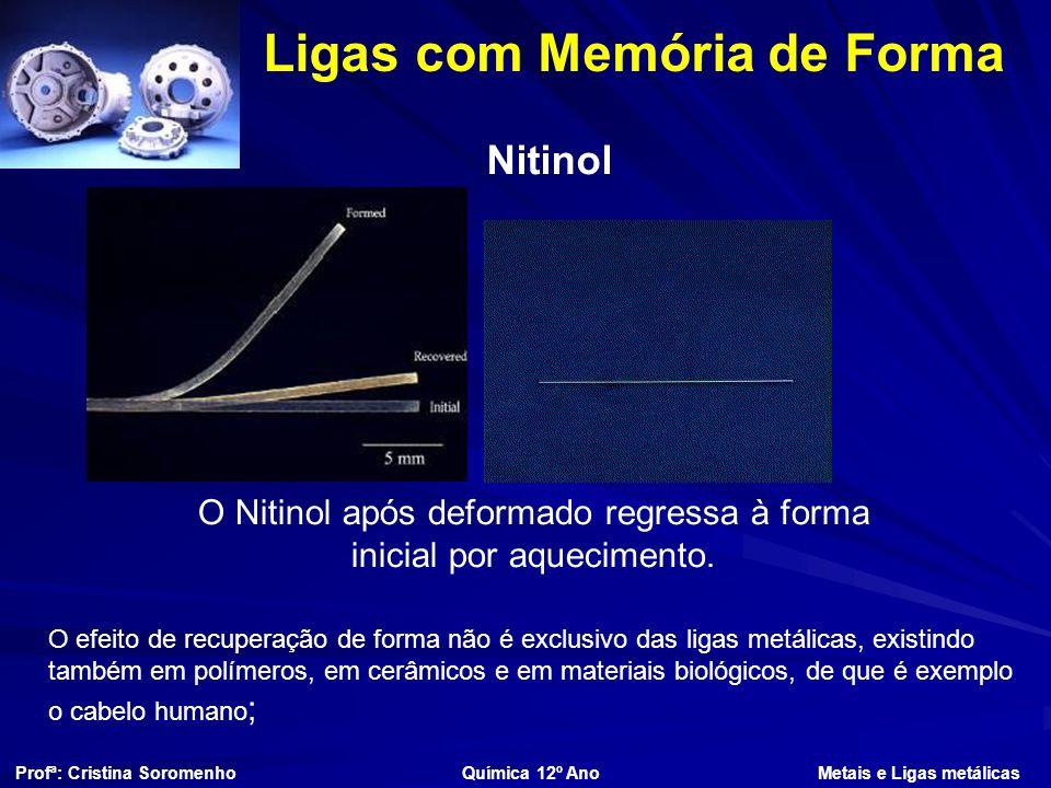 Ligas com Memória de Forma Nitinol O Nitinol após deformado regressa à forma inicial por aquecimento.