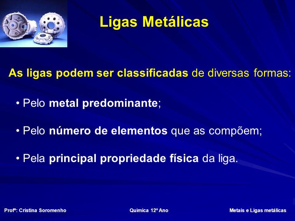 As ligas podem ser classificadas de diversas formas: Pelo metal predominante; Pelo número de elementos que as compõem; Pela principal propriedade física da liga.