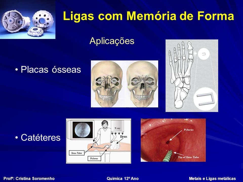 Ligas com Memória de Forma Aplicações Profª: Cristina Soromenho Química 12º Ano Metais e Ligas metálicas Placas ósseas Catéteres
