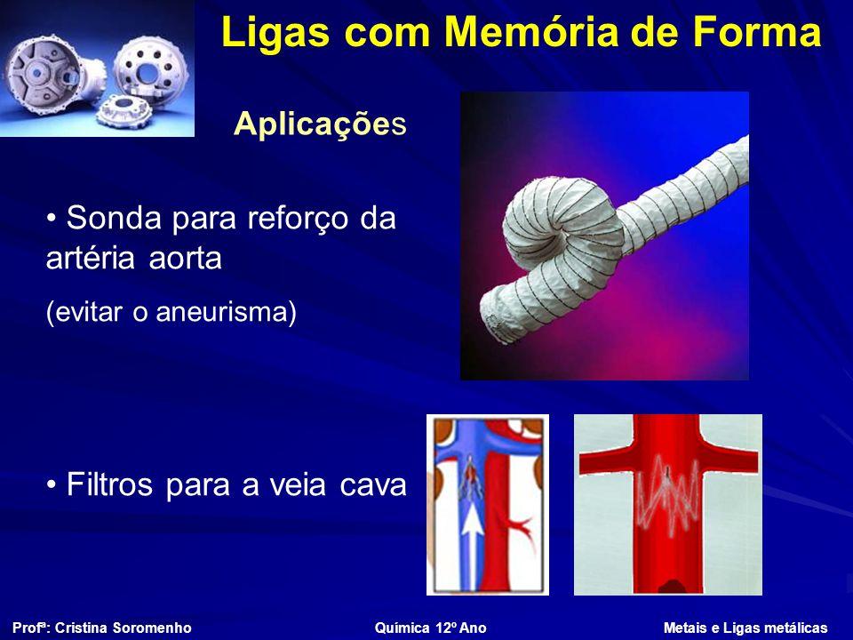 Ligas com Memória de Forma Aplicações Profª: Cristina Soromenho Química 12º Ano Metais e Ligas metálicas Sonda para reforço da artéria aorta (evitar o aneurisma) Filtros para a veia cava