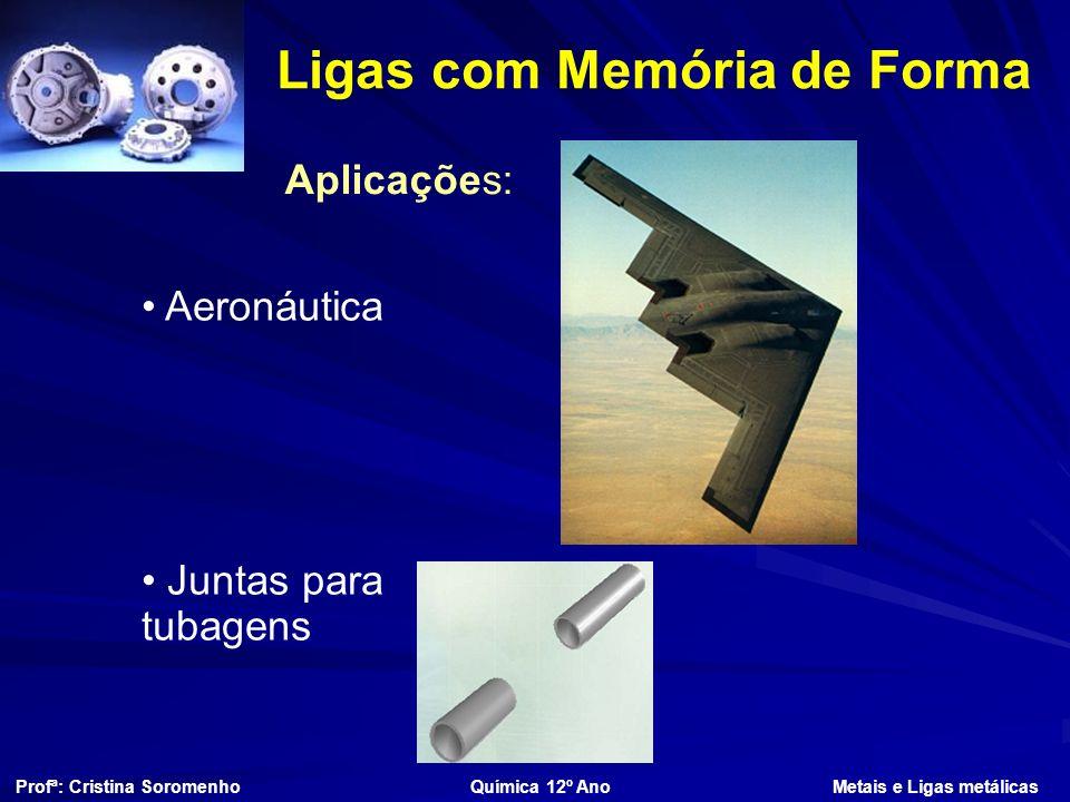 Ligas com Memória de Forma Profª: Cristina Soromenho Química 12º Ano Metais e Ligas metálicas Aplicações: Aeronáutica Juntas para tubagens