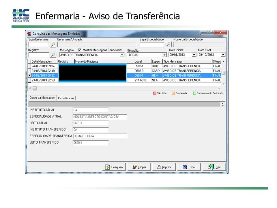 Enfermaria - Aviso de Transferência