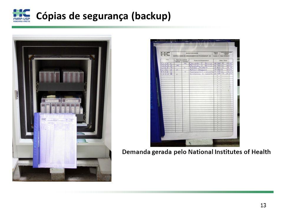 Cópias de segurança (backup) Demanda gerada pelo National Institutes of Health 13