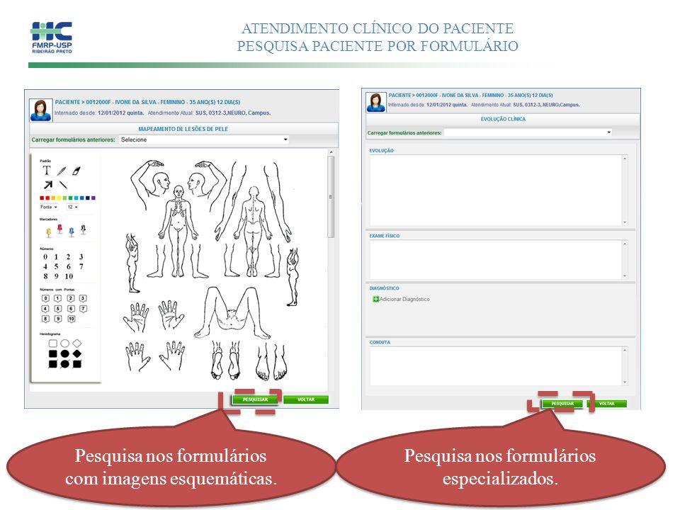 ATENDIMENTO CLÍNICO DO PACIENTE PESQUISA PACIENTE POR FORMULÁRIO Pesquisa nos formulários com imagens esquemáticas. Pesquisa nos formulários especiali