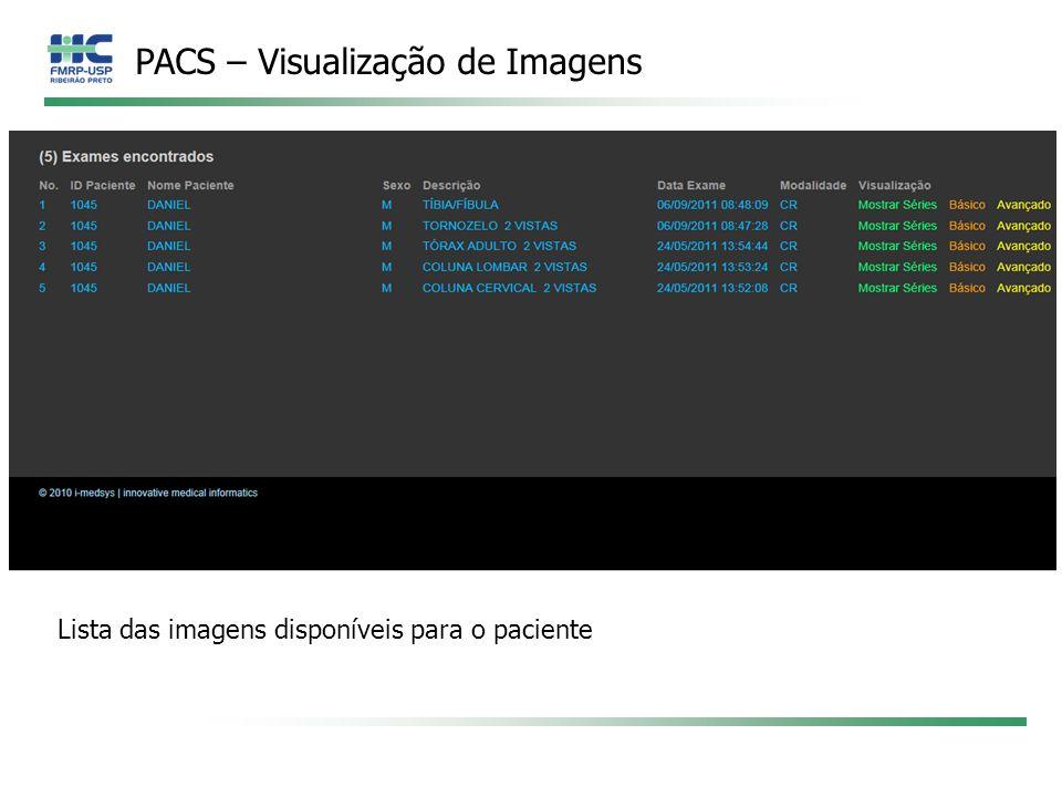 PACS – Visualização de Imagens Lista das imagens disponíveis para o paciente