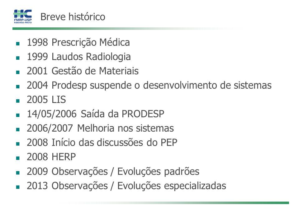 Breve histórico 1998 Prescrição Médica 1999 Laudos Radiologia 2001 Gestão de Materiais 2004 Prodesp suspende o desenvolvimento de sistemas 2005 LIS 14