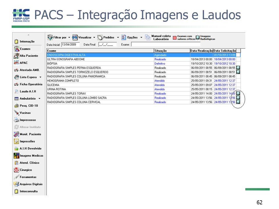 PACS – Integração Imagens e Laudos 62