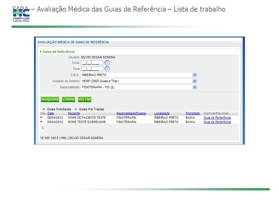 SARA – Avaliação Médica das Guias de Referência – Lista de trabalho