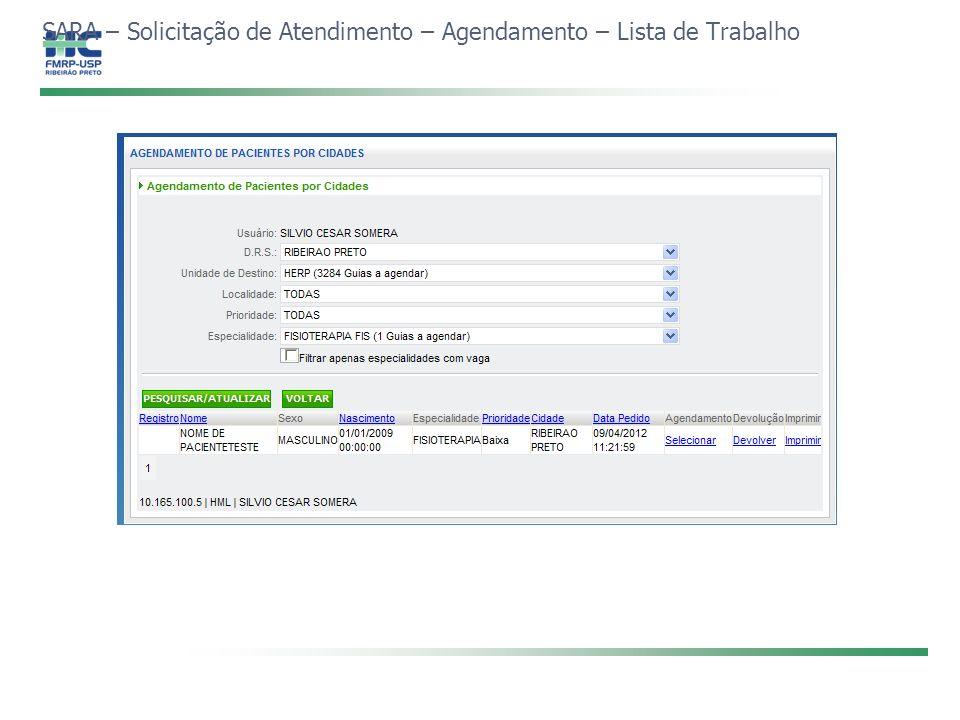 SARA – Solicitação de Atendimento – Agendamento – Lista de Trabalho