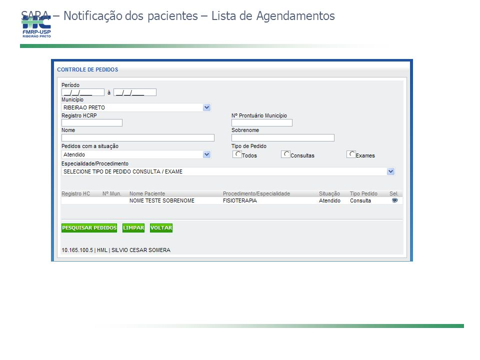 SARA – Notificação dos pacientes – Lista de Agendamentos