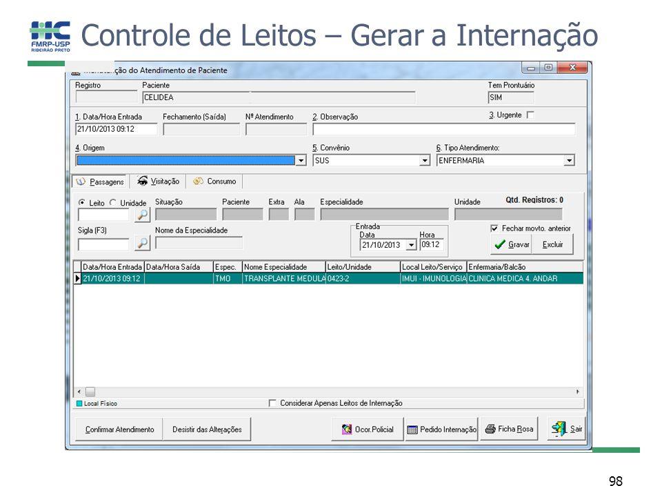 Controle de Leitos – Gerar a Internação 98