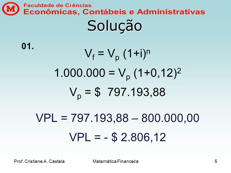 Prof.Cristiane A. Castela Matemática Financeira6 02.