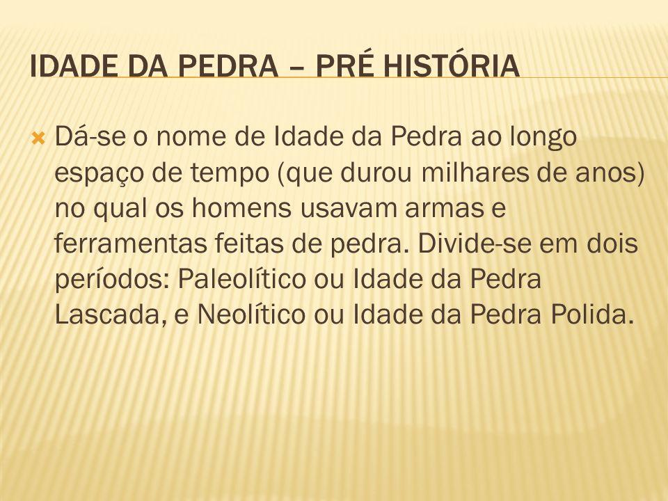 IDADE DA PEDRA – PRÉ HISTÓRIA Dá-se o nome de Idade da Pedra ao longo espaço de tempo (que durou milhares de anos) no qual os homens usavam armas e fe