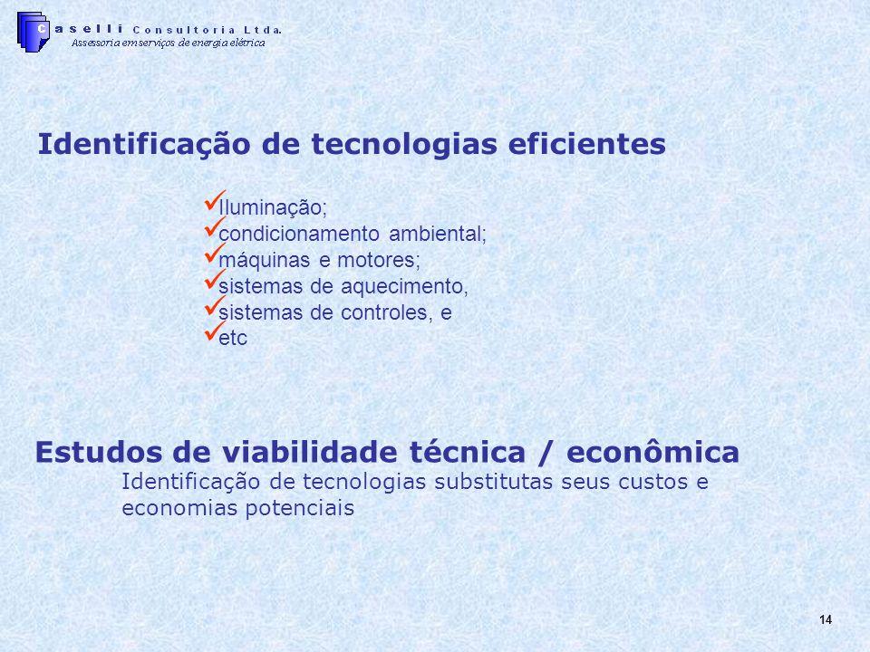 14 Estudos de viabilidade técnica / econômica Identificação de tecnologias substitutas seus custos e economias potenciais Identificação de tecnologias eficientes Iluminação; condicionamento ambiental; máquinas e motores; sistemas de aquecimento, sistemas de controles, e etc