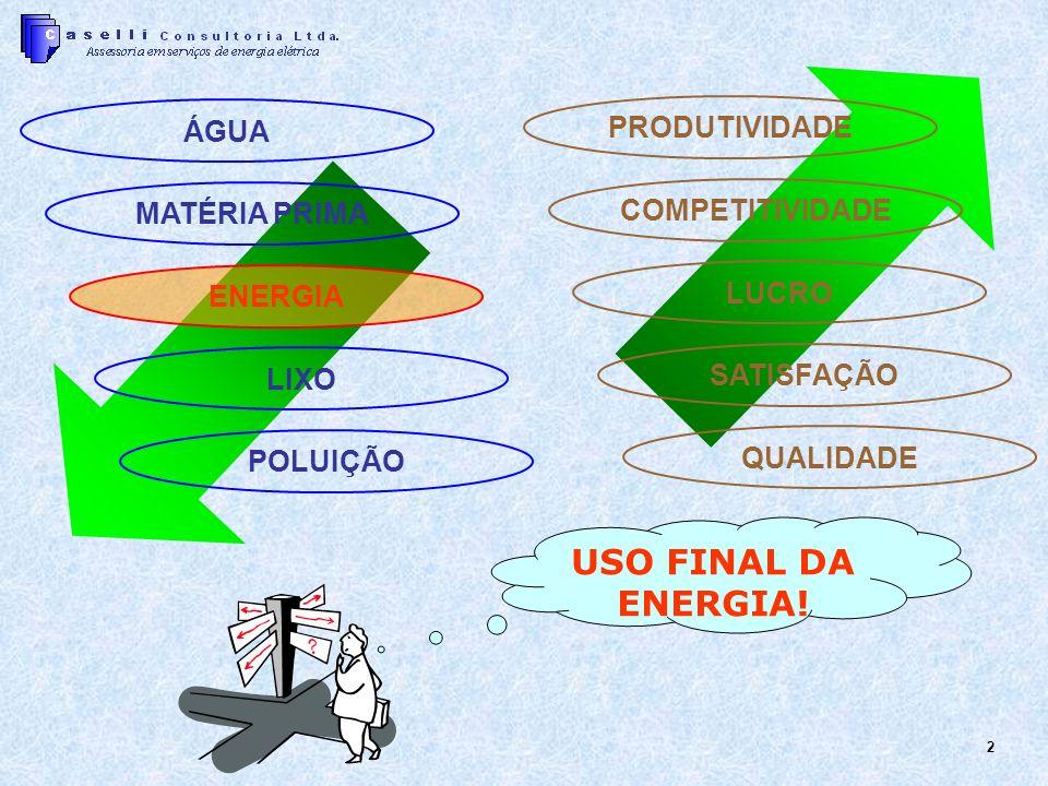 2 USO FINAL DA ENERGIA! PRODUTIVIDADE COMPETITIVIDADE LUCRO SATISFAÇÃO QUALIDADE ÁGUA MATÉRIA PRIMA ENERGIA LIXO POLUIÇÃO