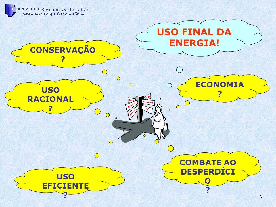 3 USO FINAL DA ENERGIA! CONSERVAÇÃO ? ECONOMIA ? USO RACIONAL ? COMBATE AO DESPERDÍCI O ? USO EFICIENTE ?