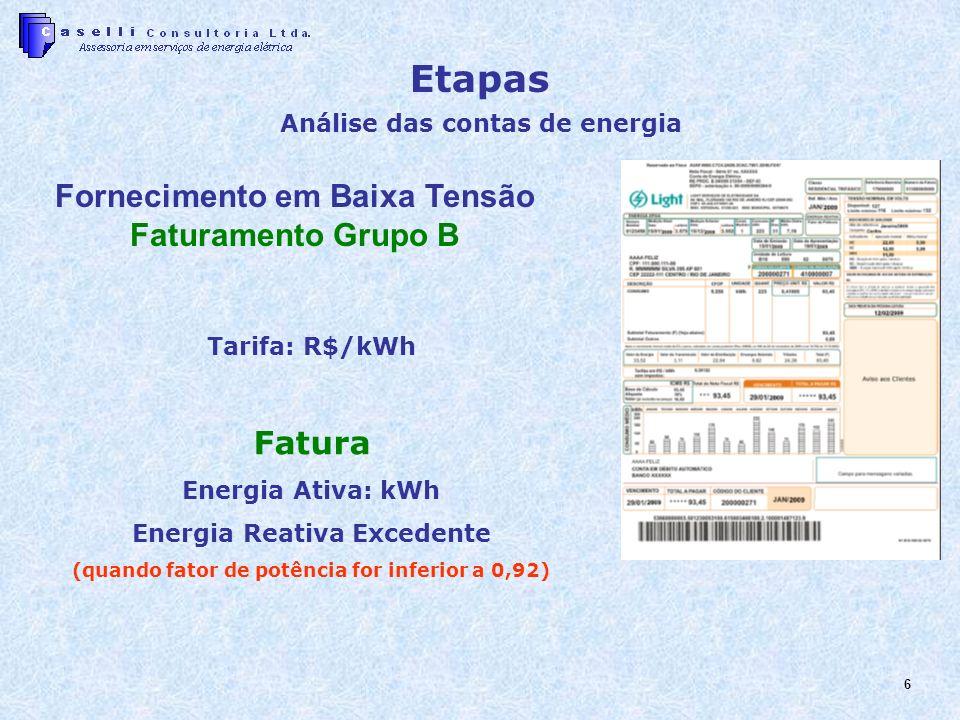 6 Etapas Análise das contas de energia Fornecimento em Baixa Tensão Faturamento Grupo B Tarifa: R$/kWh Fatura Energia Ativa: kWh Energia Reativa Excedente (quando fator de potência for inferior a 0,92)