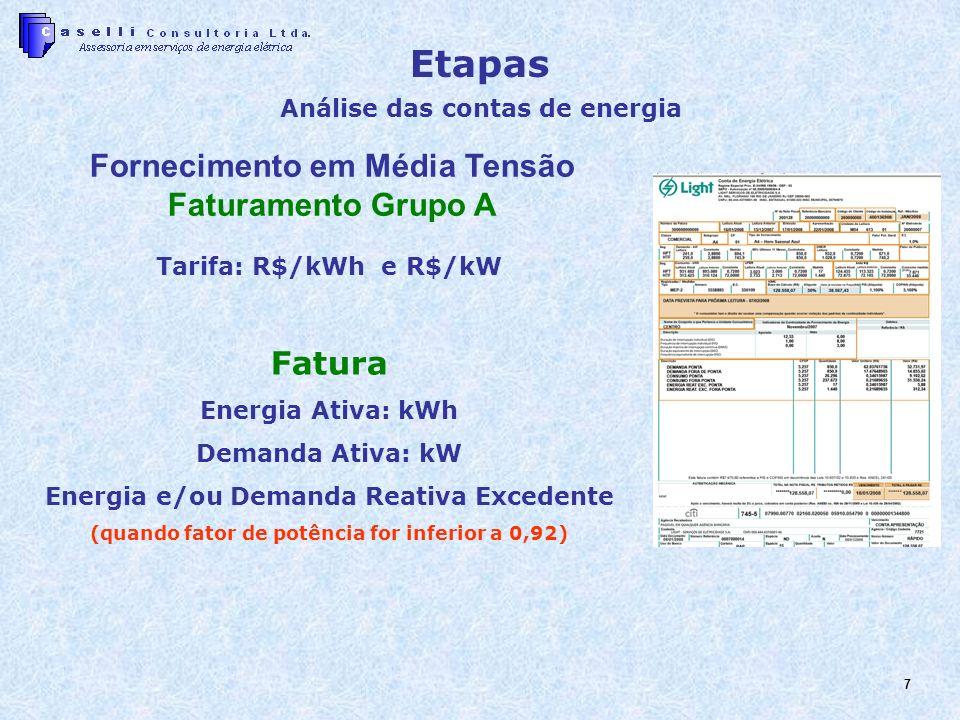 7 Fornecimento em Média Tensão Faturamento Grupo A Tarifa: R$/kWh e R$/kW Fatura Energia Ativa: kWh Demanda Ativa: kW Energia e/ou Demanda Reativa Excedente (quando fator de potência for inferior a 0,92) Etapas Análise das contas de energia
