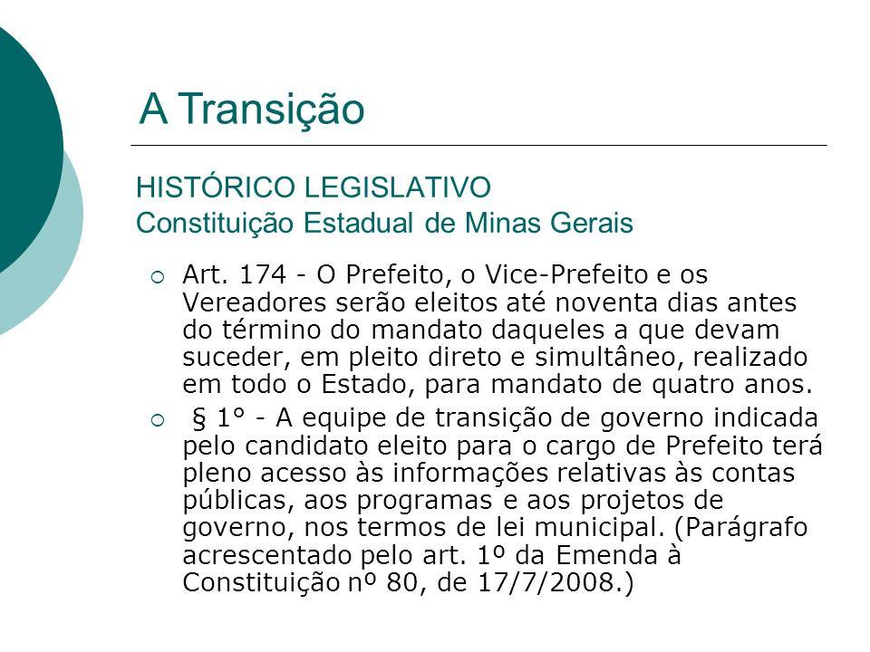 HISTÓRICO LEGISLATIVO Constituição Estadual de Minas Gerais Art. 174 - O Prefeito, o Vice-Prefeito e os Vereadores serão eleitos até noventa dias ante
