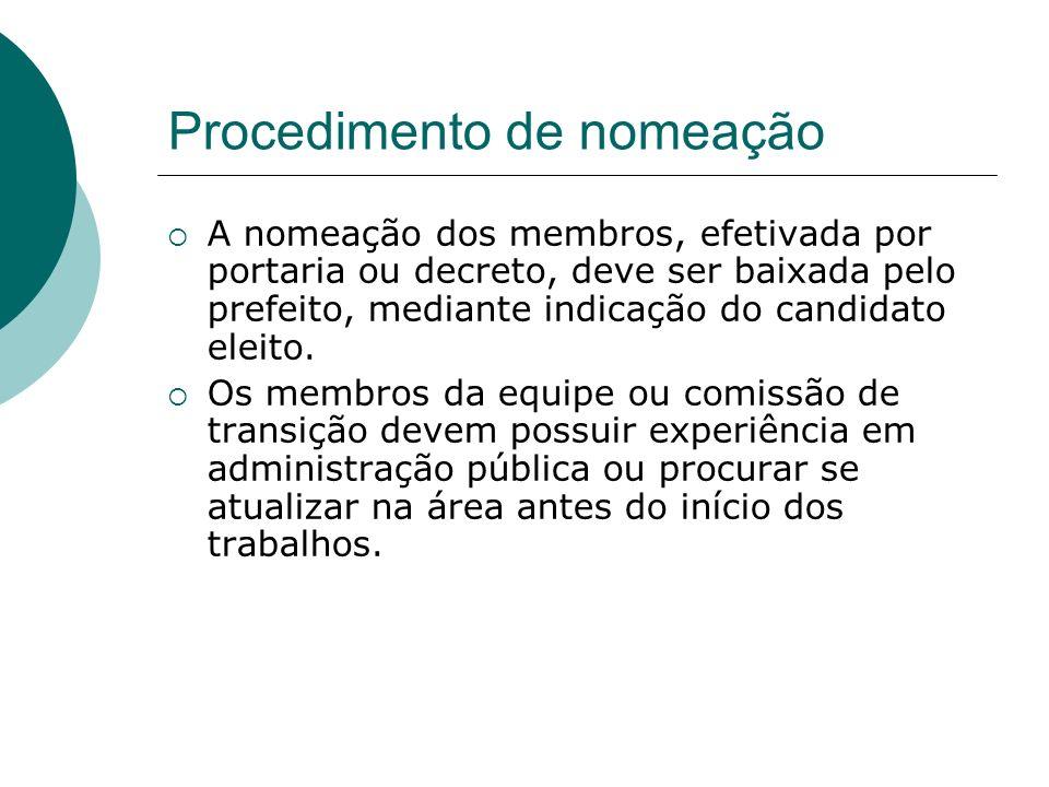 Procedimento de nomeação A nomeação dos membros, efetivada por portaria ou decreto, deve ser baixada pelo prefeito, mediante indicação do candidato el