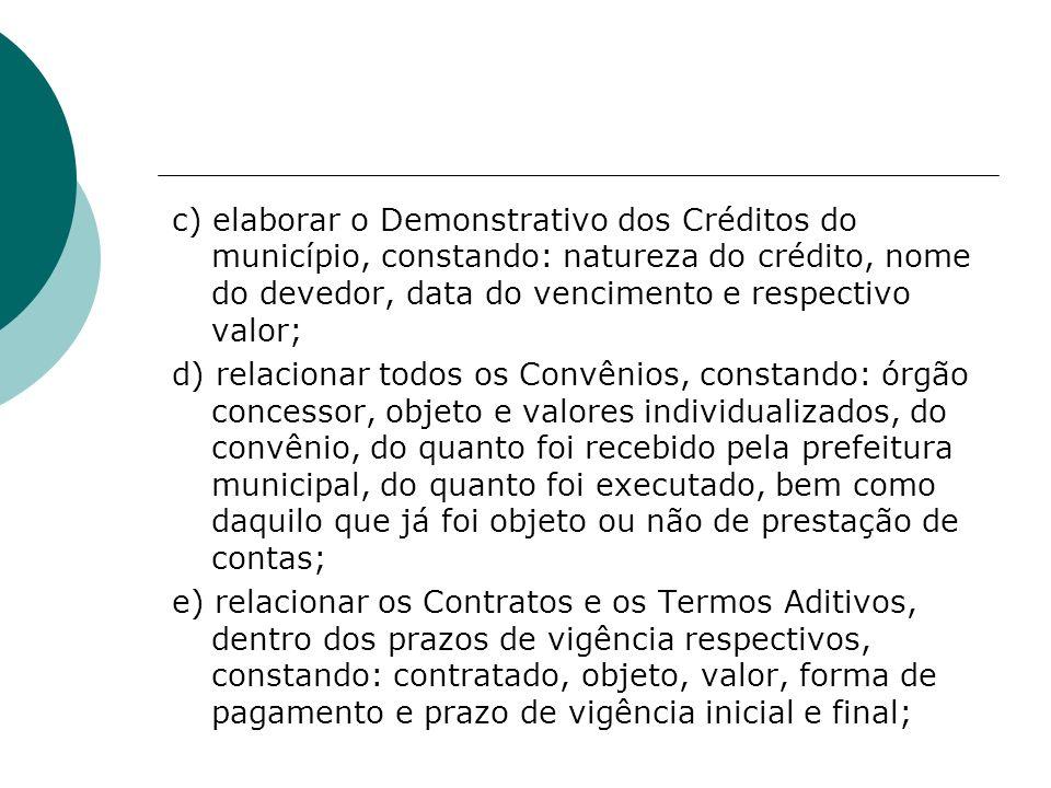c) elaborar o Demonstrativo dos Créditos do município, constando: natureza do crédito, nome do devedor, data do vencimento e respectivo valor; d) rela