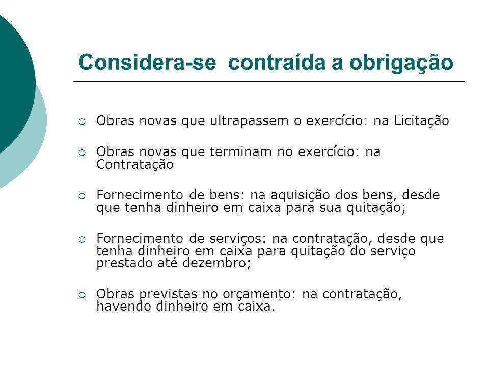 Considera-se contraída a obrigação Obras novas que ultrapassem o exercício: na Licitação Obras novas que terminam no exercício: na Contratação Forneci