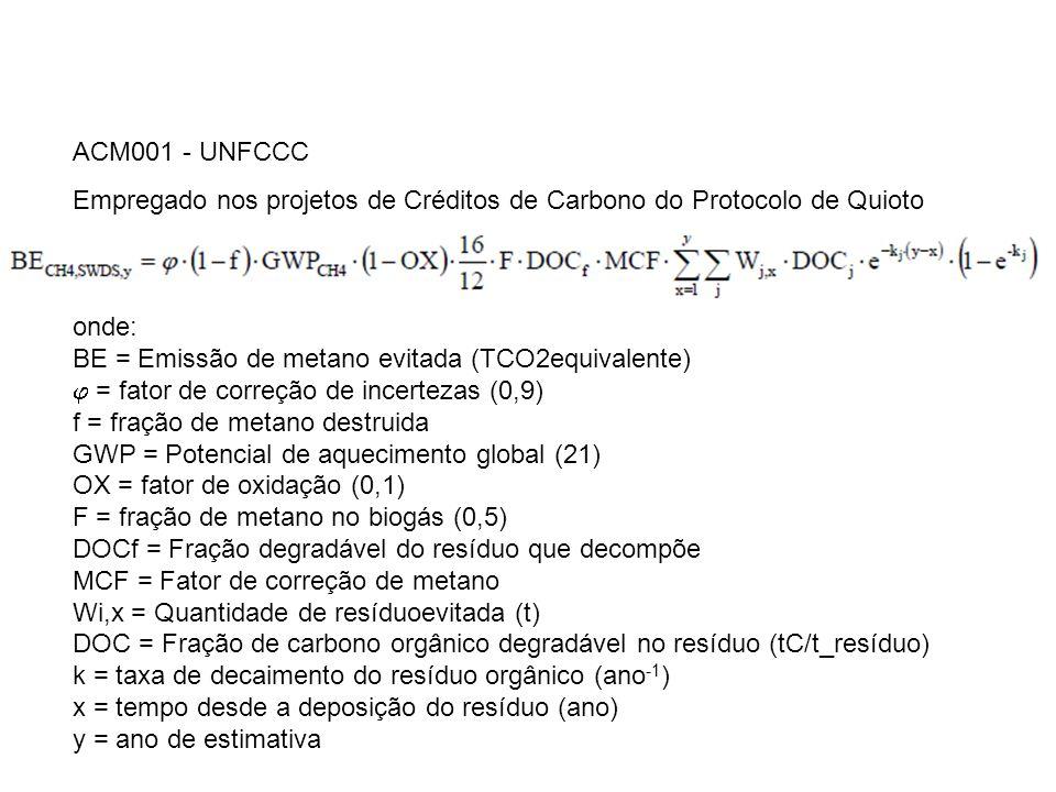 ACM001 - UNFCCC Empregado nos projetos de Créditos de Carbono do Protocolo de Quioto onde: BE = Emissão de metano evitada (TCO2equivalente) = fator de correção de incertezas (0,9) f = fração de metano destruida GWP = Potencial de aquecimento global (21) OX = fator de oxidação (0,1) F = fração de metano no biogás (0,5) DOCf = Fração degradável do resíduo que decompõe MCF = Fator de correção de metano Wi,x = Quantidade de resíduoevitada (t) DOC = Fração de carbono orgânico degradável no resíduo (tC/t_resíduo) k = taxa de decaimento do resíduo orgânico (ano -1 ) x = tempo desde a deposição do resíduo (ano) y = ano de estimativa