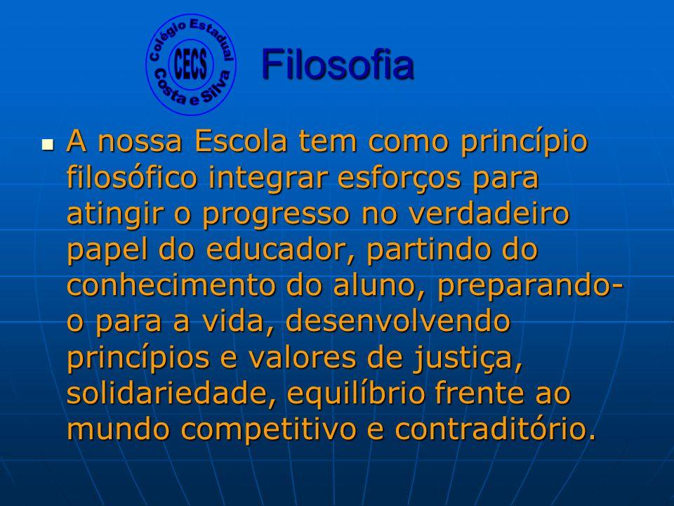 Sistema de segurança (Câmeras nas salas de aula e pátio); Ar condicionado nas salas; Viva Escola – Fanfarra; Cantina; Participação no PAS/UEM.