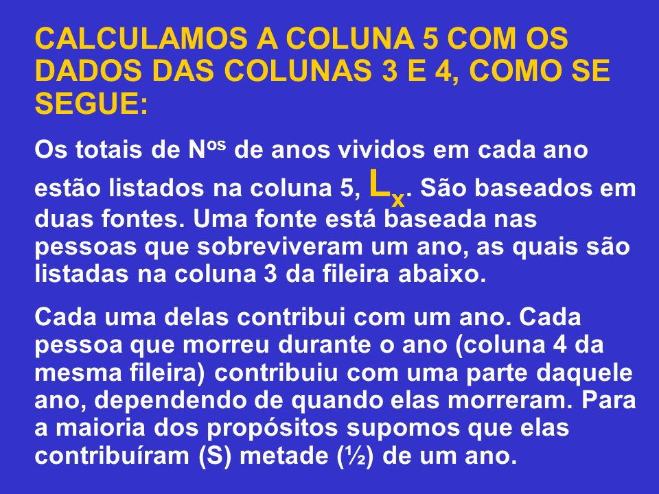 CALCULAMOS A COLUNA 5 COM OS DADOS DAS COLUNAS 3 E 4, COMO SE SEGUE: Os totais de N os de anos vividos em cada ano estão listados na coluna 5, L x. Sã