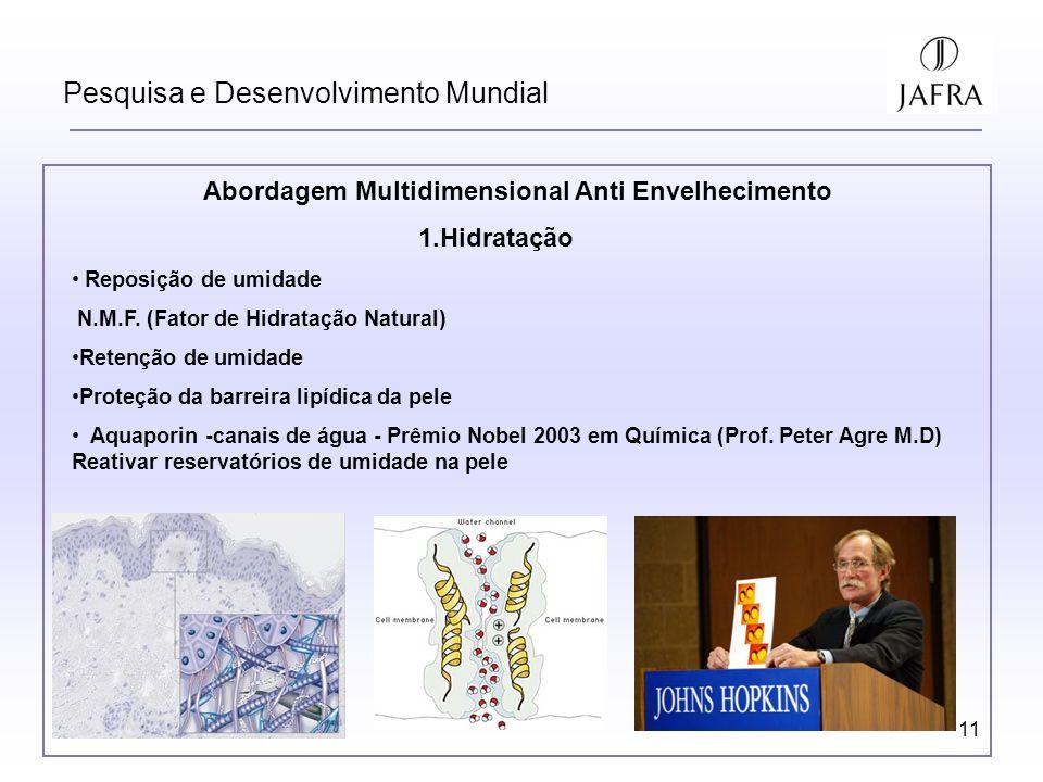 11 Pesquisa e Desenvolvimento Mundial Abordagem Multidimensional Anti Envelhecimento 1.Hidratação Reposição de umidade N.M.F. (Fator de Hidratação Nat