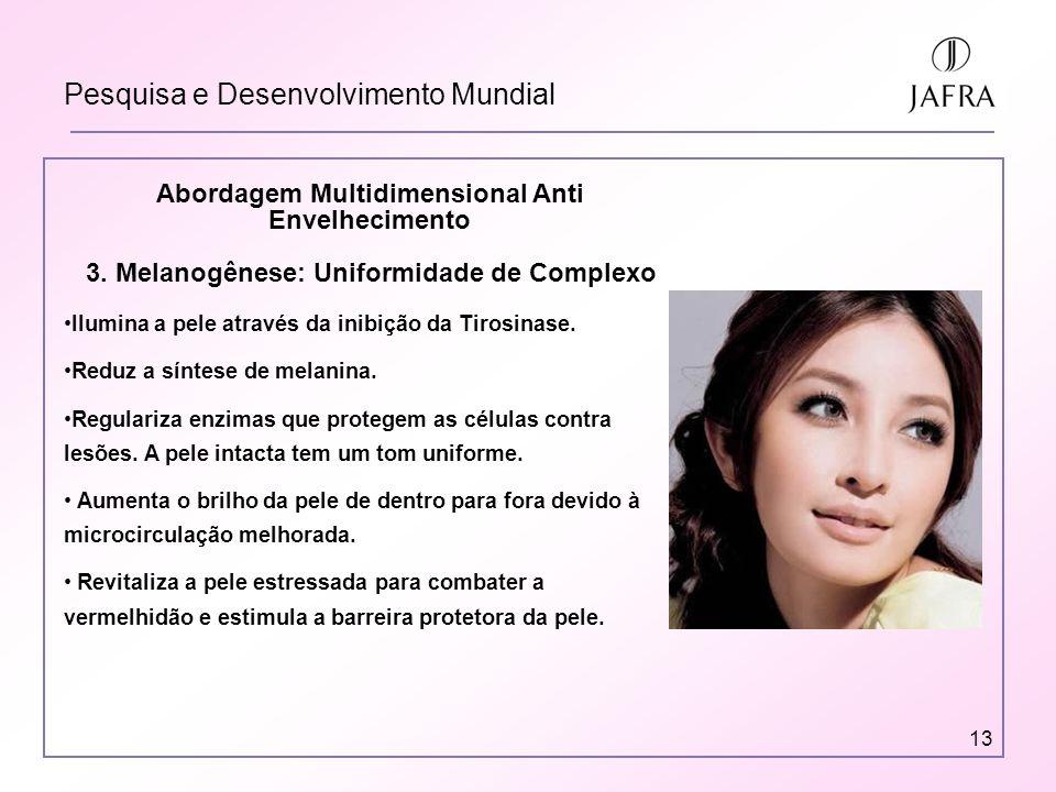 13 Pesquisa e Desenvolvimento Mundial Abordagem Multidimensional Anti Envelhecimento 3. Melanogênese: Uniformidade de Complexo Ilumina a pele através