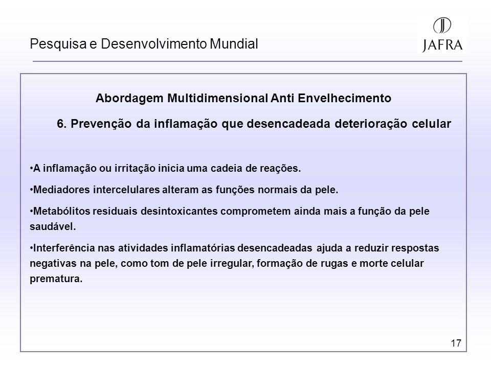 17 Pesquisa e Desenvolvimento Mundial Abordagem Multidimensional Anti Envelhecimento 6. Prevenção da inflamação que desencadeada deterioração celular