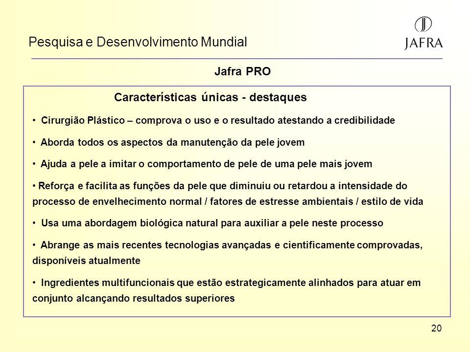 20 Pesquisa e Desenvolvimento Mundial Jafra PRO Características únicas - destaques Cirurgião Plástico – comprova o uso e o resultado atestando a credi