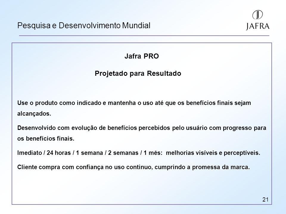 21 Pesquisa e Desenvolvimento Mundial Jafra PRO Projetado para Resultado Use o produto como indicado e mantenha o uso até que os benefícios finais sejam alcançados.