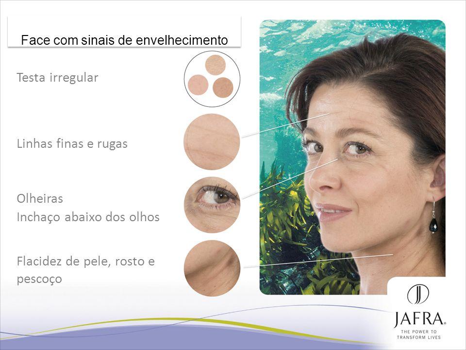 22 Testa irregular Linhas finas e rugas Olheiras Inchaço abaixo dos olhos Flacidez de pele, rosto e pescoço Face com sinais de envelhecimento