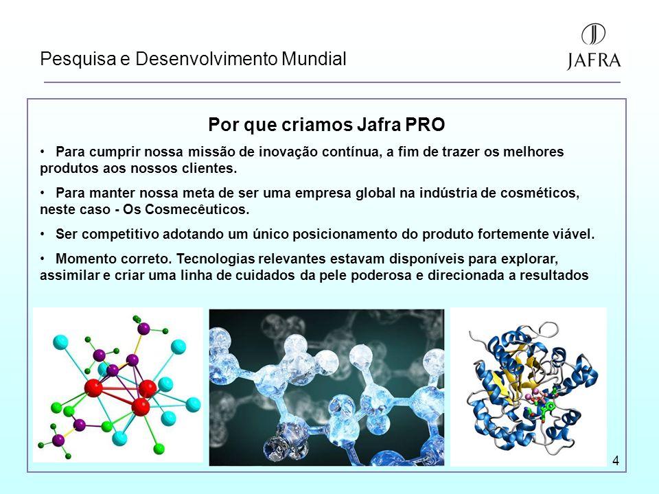 4 Pesquisa e Desenvolvimento Mundial Por que criamos Jafra PRO Para cumprir nossa missão de inovação contínua, a fim de trazer os melhores produtos aos nossos clientes.